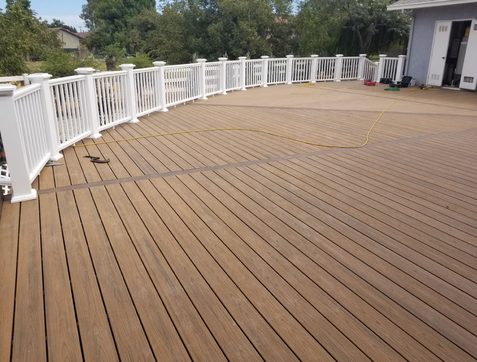 Tier Fencing Large Redwood Deck Construction