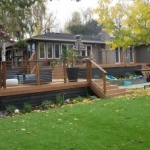 Tier Fencing Large Redwood Wraparound Deck and Stairs